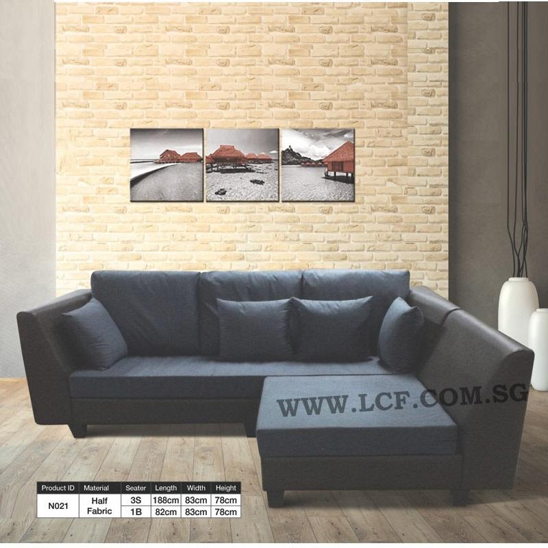 N021 L Shape Sofa Pvc Fabric Lilian Construction Furnishing Pte Ltd