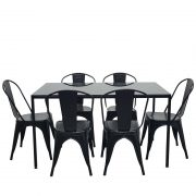 LC-Glass table+metal chair-black1
